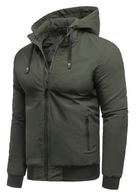 Khaki přechodná bunda s kapucí pro pány