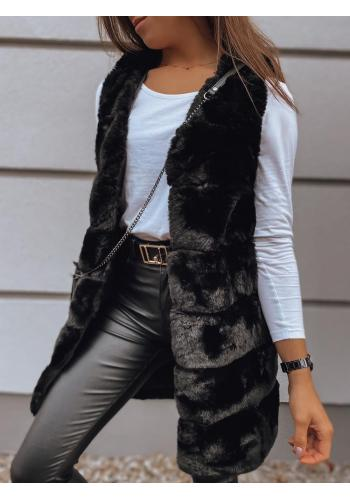 Kožešinová dámská vesta černé barvy