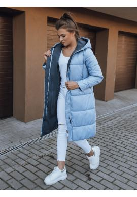 Světle modrá oboustranná dlouhá bunda s kapucí pro dámy