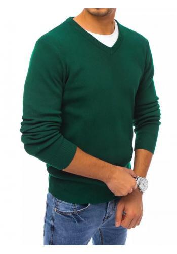 Pánský klasický svetr s véčkovým výstřihem v zelené barvě