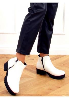 Bílé kotníkové boty s tlustou podrážkou pro dámy
