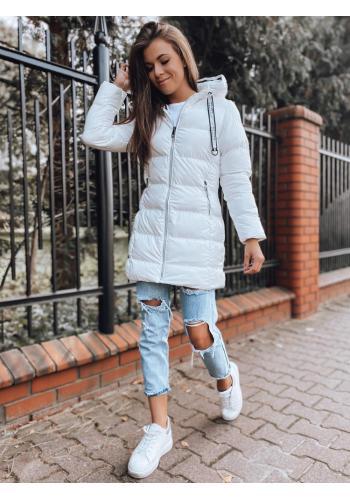 Dámská prošívaná bunda na zimu v bílé barvě