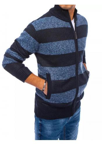 Zapínaný pánský svetr tmavě modré barvy s pruhy