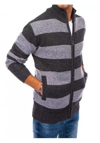 Tmavě šedý zapínaný svetr s pruhy pro pány