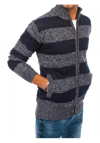Pánský zapínaný svetr s pruhy v tmavě šedé barvě