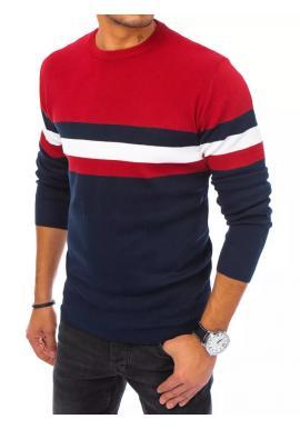 Stylový pánský svetr bordově-modré barvy s kontrastními pruhy