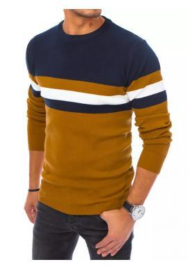Modro-hnědý stylový svetr s kontrastními pruhy pro pány