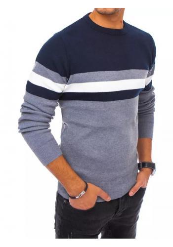 Pánský stylový svetr s kontrastními pruhy v modro-šedé barvě