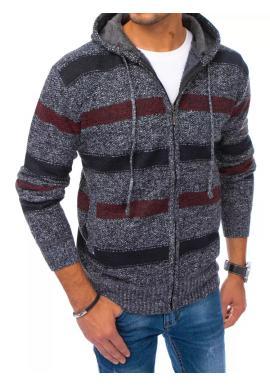Zapínaný pánský svetr tmavě šedé barvy s kapucí a s pruhy