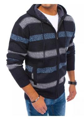 Tmavě modrý zapínaný svetr s kapucí as pruhy pro pány