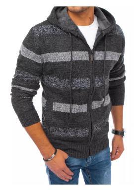 Pánské zapínané svetry s kapucí a s pruhy v tmavě šedé barvě