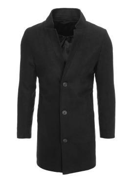 Černý dlouhý jednořadý kabát pro pány