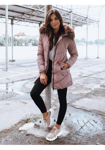 Prošívaná dámská bunda růžové barvy na zimu