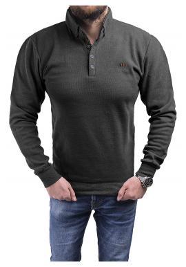 Módní pánský svetr černé barvy s límcem