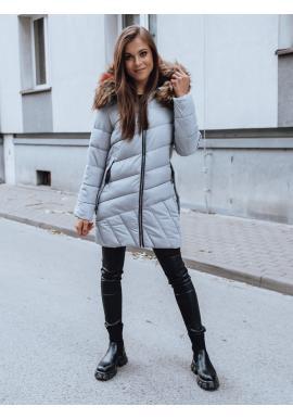 Dámská prošívaná bunda s kapucí v šedé barvě