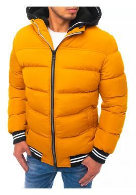 Žlutá prošívaná bunda na zimu pro pány