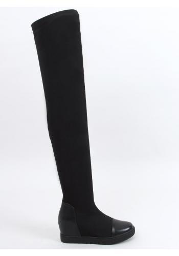 Dámské elastické kozačky nad kolena se skrytým podpatkem v černé barvě