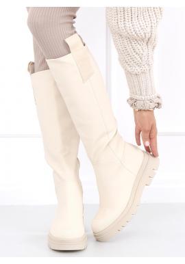 Béžové módní kozačky s vysokou podrážkou pro dámy