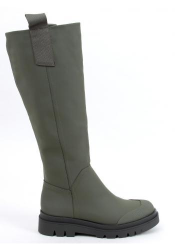 Dámské módní kozačky s vysokou podrážkou v zelené barvě