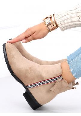 Dámské semišové boty se stříbrným zipem v béžové barvě