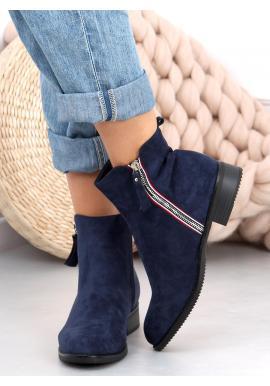 Semišové dámské boty tmavě modré barvy se stříbrným zipem