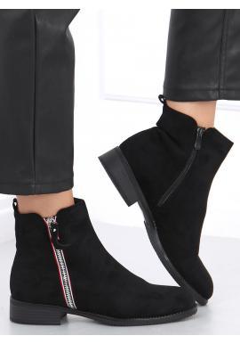 Černé semišové boty se stříbrným zipem pro dámy