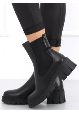 Dámské módní boty se širokým podpatkem v černé barvě