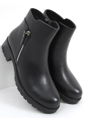Černé matné boty s motivem hadí kůže pro dámy