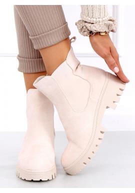 Semišové dámské boty béžové barvy s elastickými vložkami