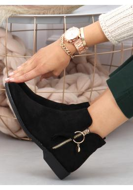Černé kotníkové boty se zlatým zipem pro dámy