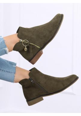 Dámské kotníkové boty se zlatým zipem v zelené barvě