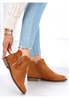 Kotníkové dámské boty hnědé barvy se zlatým zipem