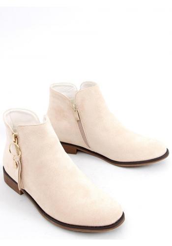 Béžové kotníkové boty se zlatým zipem pro dámy