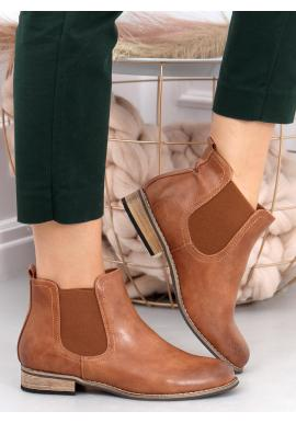 Klasické dámské boty hnědé barvy s elastickými vložkami