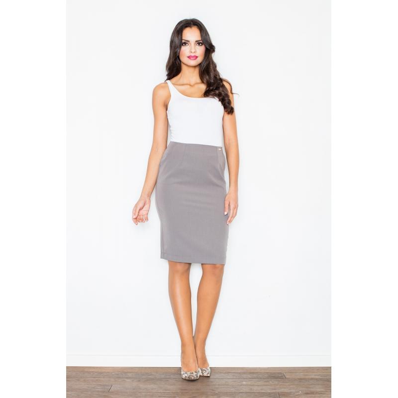 Šedá elegantní sukně s kapsami pro dámy - dokonalamoda.cz 5932d1337c
