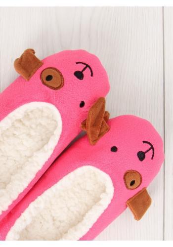 Balerínkové dámské pantofle růžové barvy se zvířecím motivem