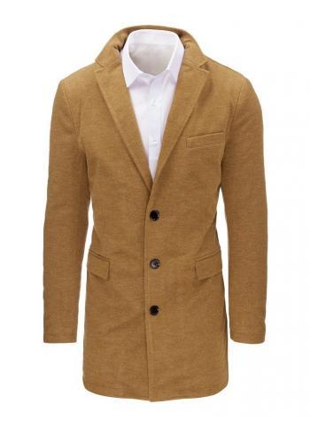 Delší pánský kabát hnědé barvy na zimu