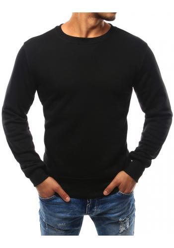 Jednobarevná pánská mikina černé barvy bez kapuce