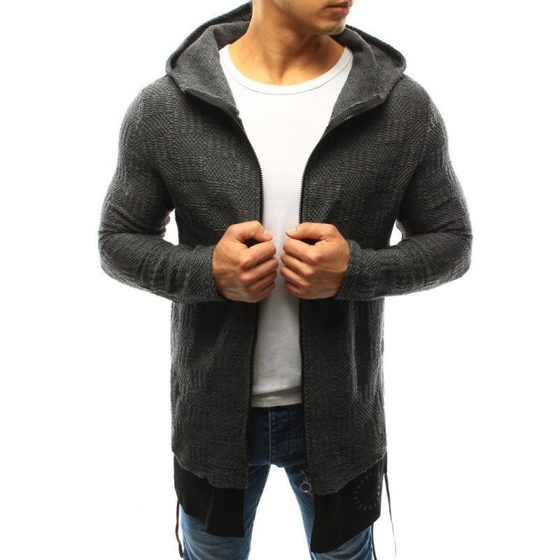 Pánský delší svetr s maskáčovým motivem v černé barvě