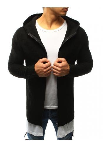 Delší pánský svetr tmavě šedé barvy s kapucí
