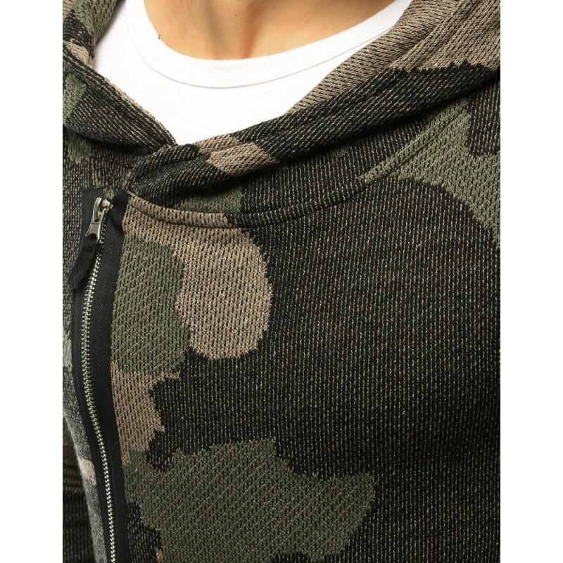 Pánský delší svetr s kapucí v zelené barvě