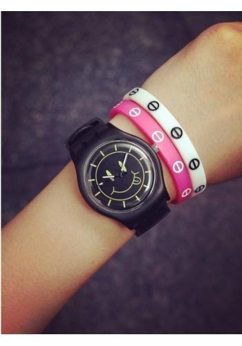 Černé unisex hodinky Smiley se žlutými prvky