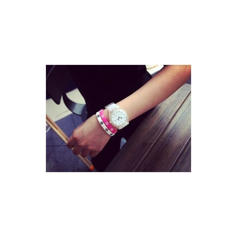 Unisex bílé hodinky Smiley na silikonovém řemínku