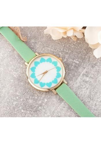 Mátové dámské hodinky se srdíčky na ciferníku