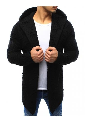 Tmavě šedý stylový kardigán s kapucí pro pány
