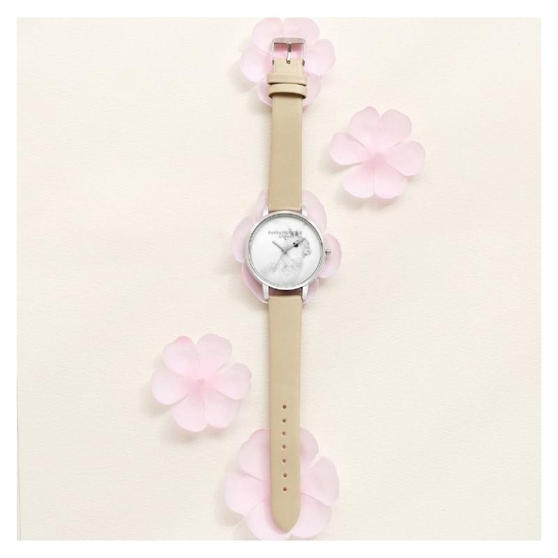Béžové hodinky se stříbrným ciferníkem pro dámy