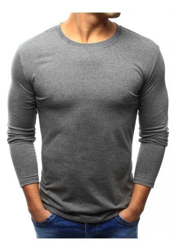 Pánské klasické tričko s dlouhým rukávem v tmavě šedé barvě