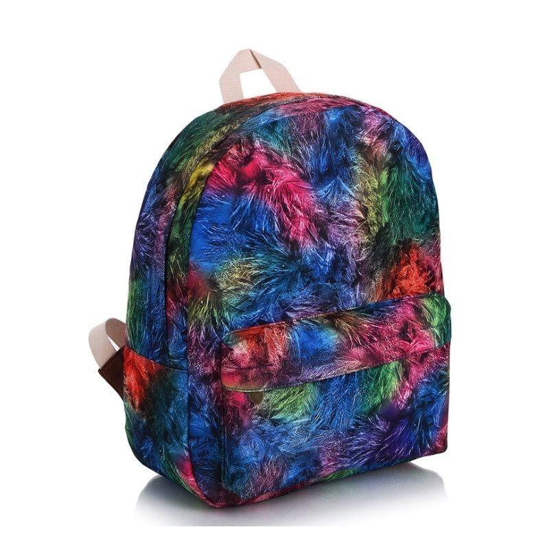 Dámský školní batoh s kontrastními srdíčky ve světle modré barvě