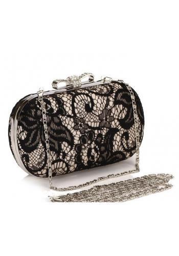 Společenská dámská kabelka bílé barvy s krajkou