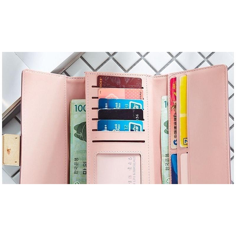 Kožená dámská peněženka růžové barvy se zlatou přezkou